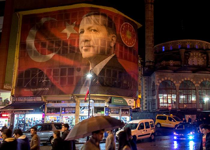Erdogan's face on a building in Rize