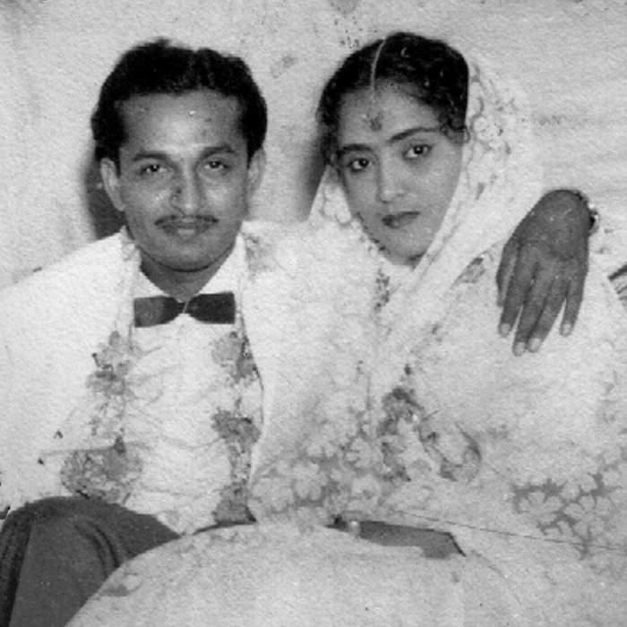 Raj and his wife Geeta on their wedding day