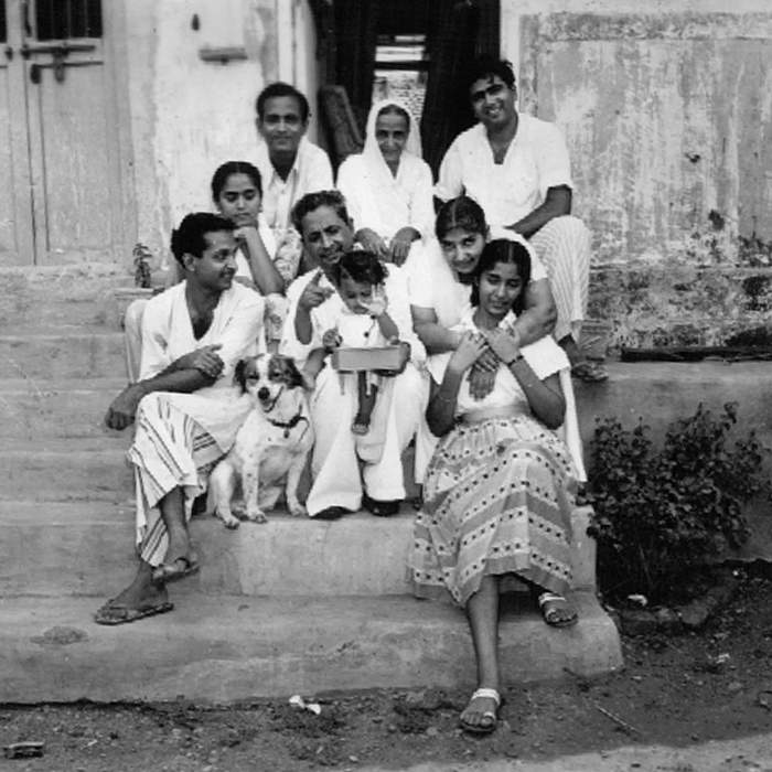 Raj (front left) and his family