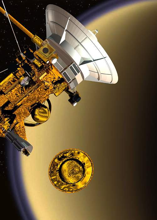 Artist impression of the Huygens probe separating from Cassini(Esa)