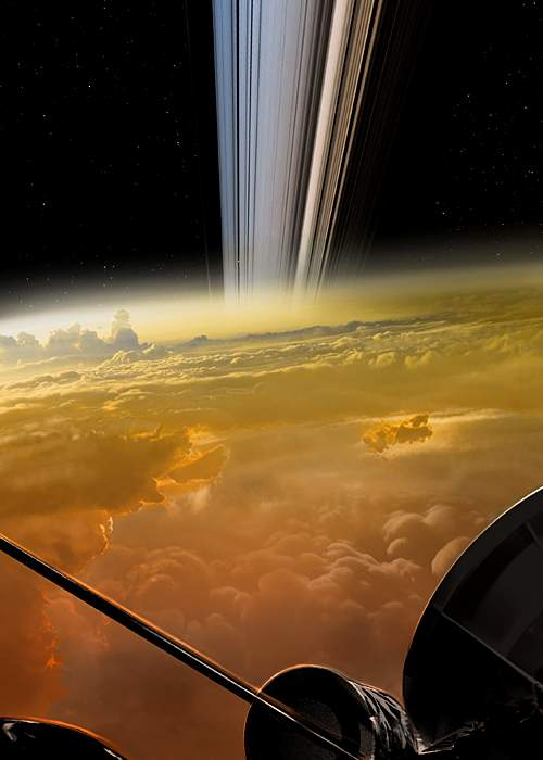 Artist depiction of the view from Cassini as it falls towards Saturn (Nasa)