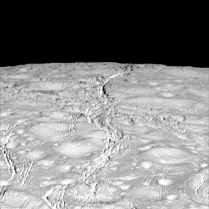 Cassini's view of the icy crust on Enceladus(Nasa)
