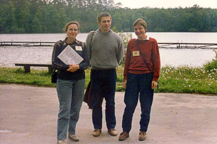 Merkel (r) pictured in Poland in 1989 with her husband, and her colleague Malgorzata Jeziorska