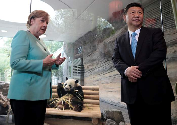 Merkel and Xi Jinping open the panda enclosure at Berlin Zoo