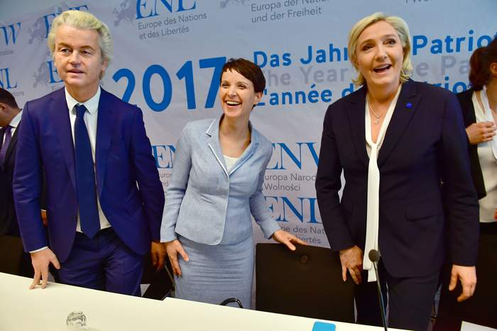 (l-r) Geert Wilders, Frauke Petry and Marine Le Pen meet in Koblenz, January 2017