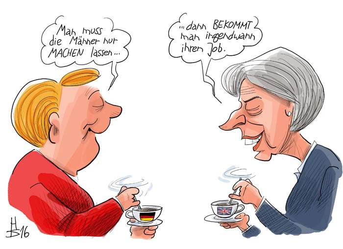 Angela Merkel: You just let the men do it... Theresa May: ... and then you get their job in the end.