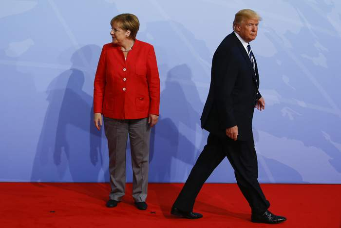 Merkel and Trump at the G20 meeting in Hamburg, July 2017