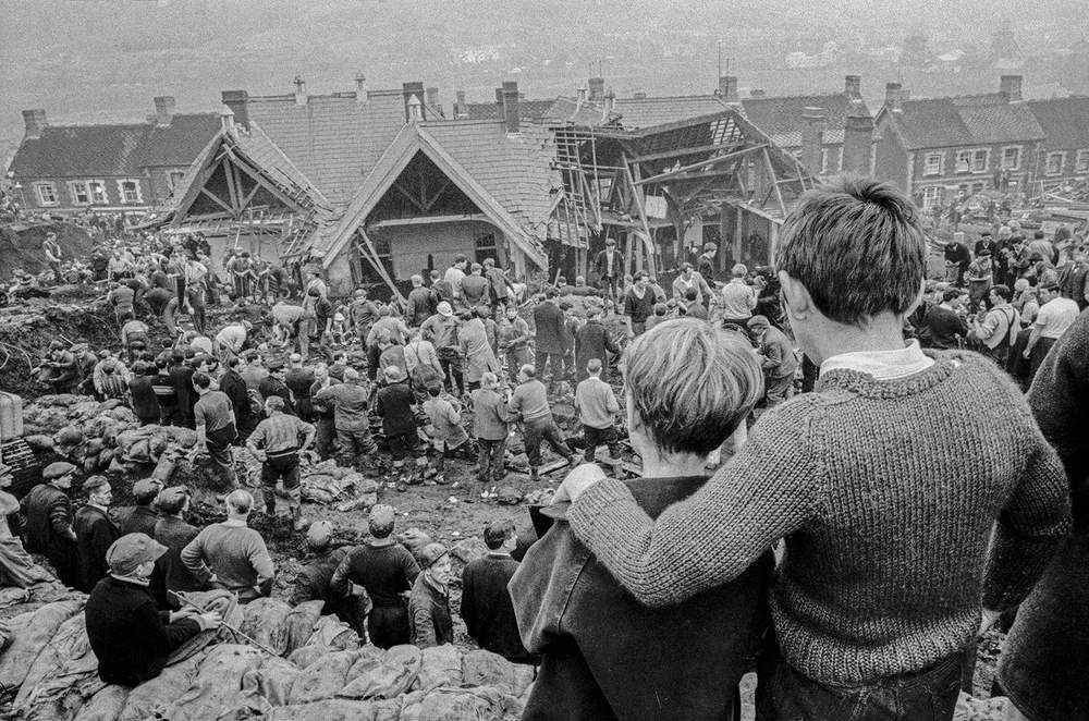 Two surviving children survey the rescue operation in Aberfan, October 1966, Hurn