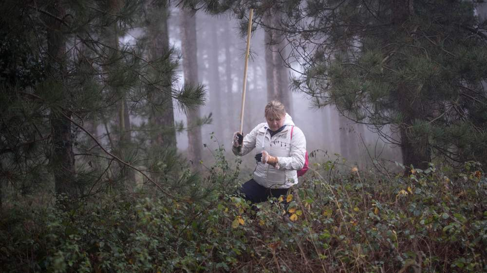 This photo of Nicola searching through woodland was shared worldwide