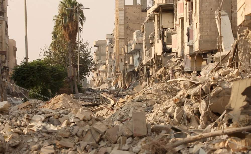 Destroyed street in Raqqa's Old City