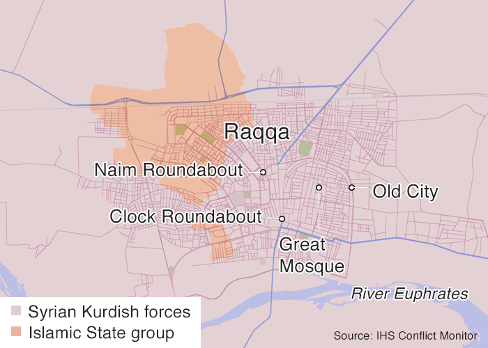 Control of Raqqa as of 25 September 2017