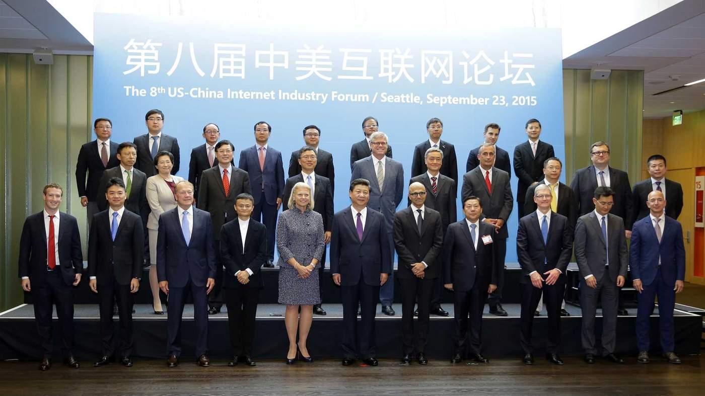 2015: Ông Tập Cận Bình ở Seattle cùng các lãnh đạo ngành công nghệ của Mỹ và Trung Quốc
