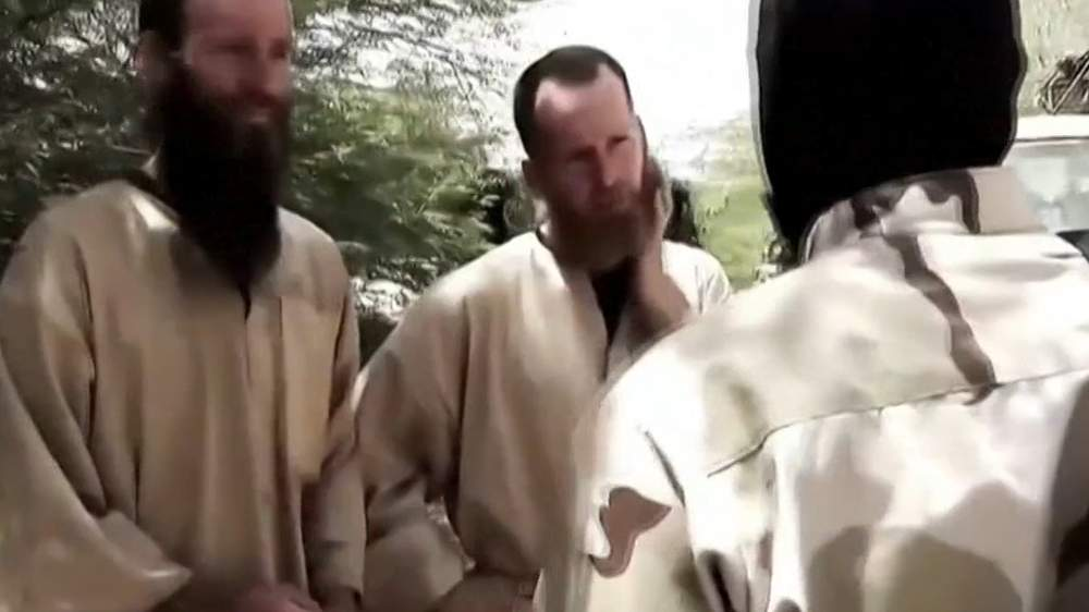 Stephen (centre) in a hostage video
