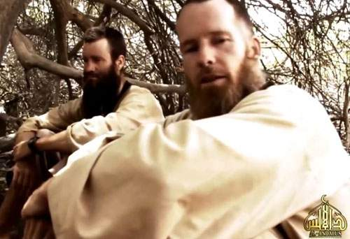 Stephen (right) and Johan pictured in a hostage video released in 2015