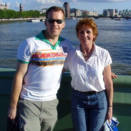 Stephen with his mother, Beverley, in London