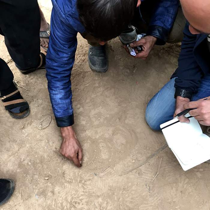 One of the drivers maps out the route of the convoy