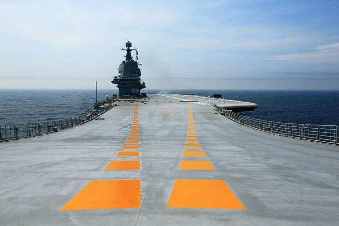 China's first domestically manufactured aircraft carrier during its first sea trial