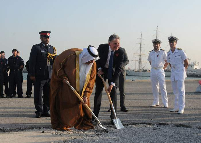 """2015: Philip Hammond (then foreign secretary) and the Bahraini foreign minister """"break the ground"""" on the UK's naval support facility in Bahrain"""