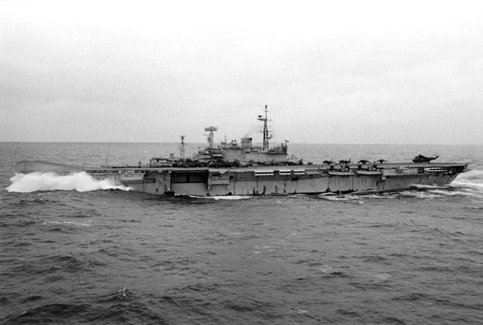 HMS Hermes (successor ship) in the south Atlantic during the Falklands War, 1982