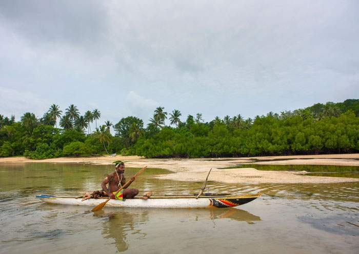 A traditional fisherman in New Ireland, Papua New Guinea