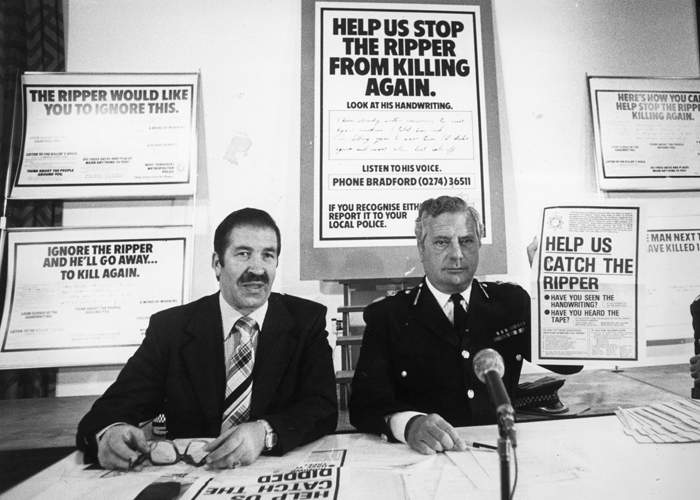 West Yorkshire Chief Constable Ronald Gregory (right), who led the investigation and Detective Chief Superintendent Jim Hobson, appeal to the public for help