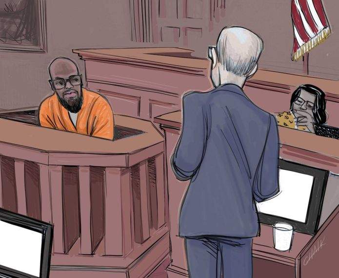 Gondo on the stand. Court sketch by Tom Chalkley