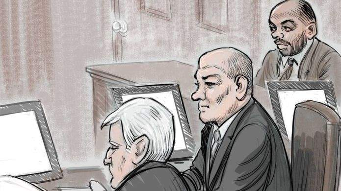 Hersl (centre) and Taylor (right) in court. Court sketch by Tom Chalkley