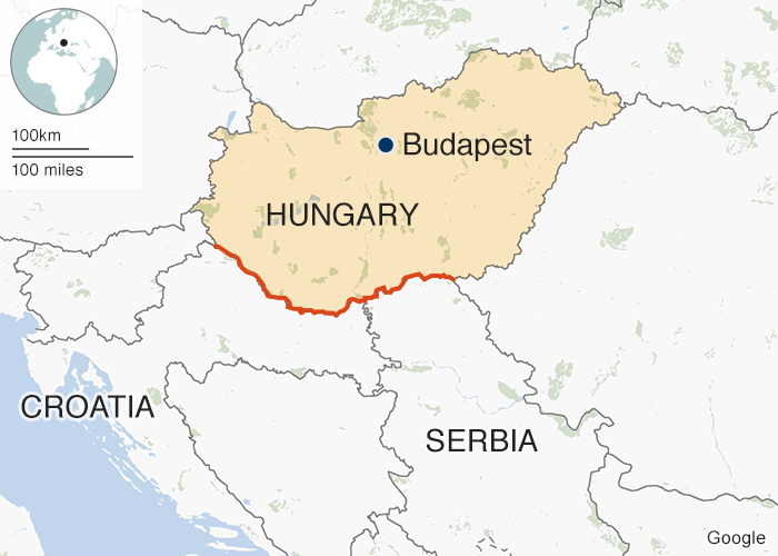 The border fence (in red) spans Hungary's border with Serbia and Croatia
