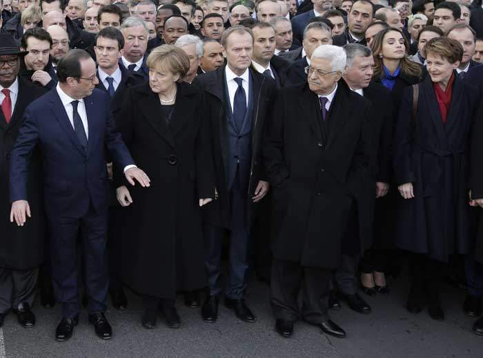 2015: World leaders march through Paris after the Charlie Hebdo attacks