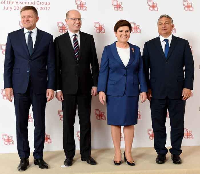 2016: Orban with fellow leaders of the Visegrad Group of countries (Czech Republic, Slovakia, Poland and Hungary)