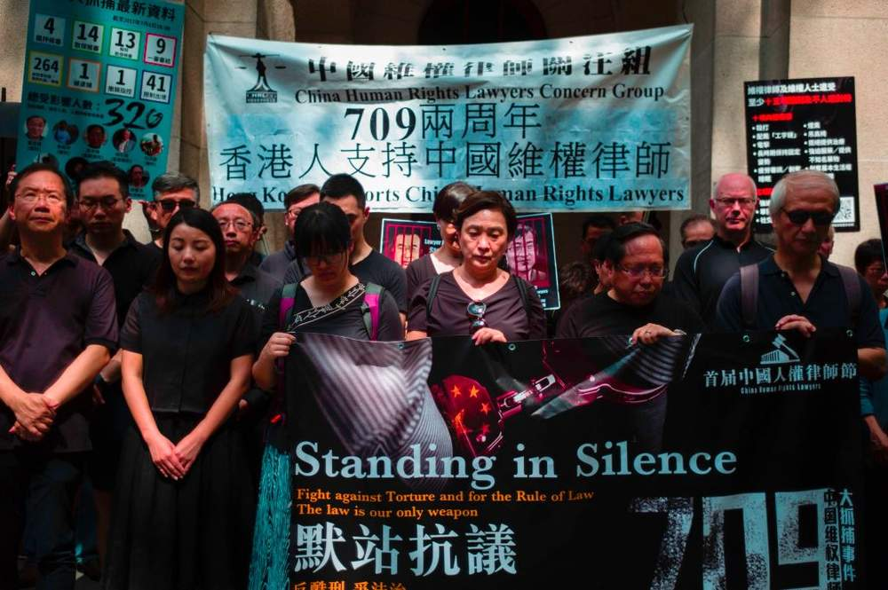 Hong Kong activists supporting Chinese rights lawyers, July 2017