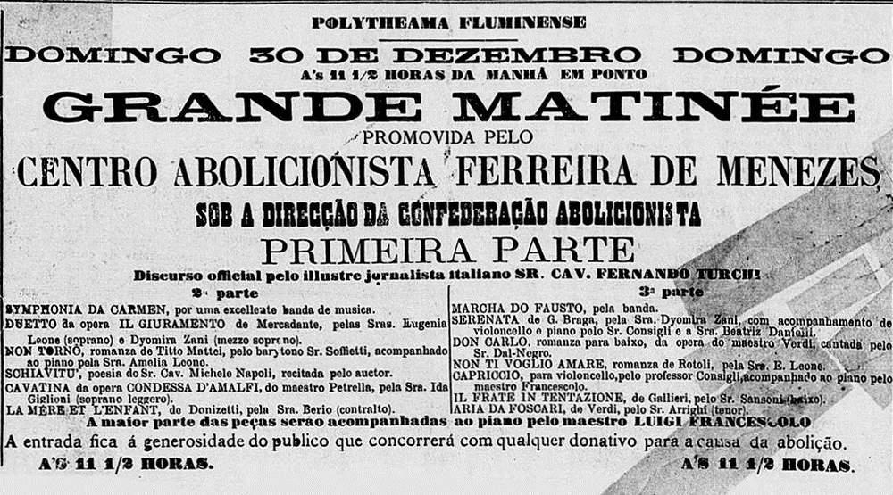 """Anúncio de uma matinê abolicionista no jornal Gazeta da Tarde, em 1883 Acervo Fundação Biblioteca Nacional - Brasil \/ Publicado no livro """"Flores, votos e balas"""""""