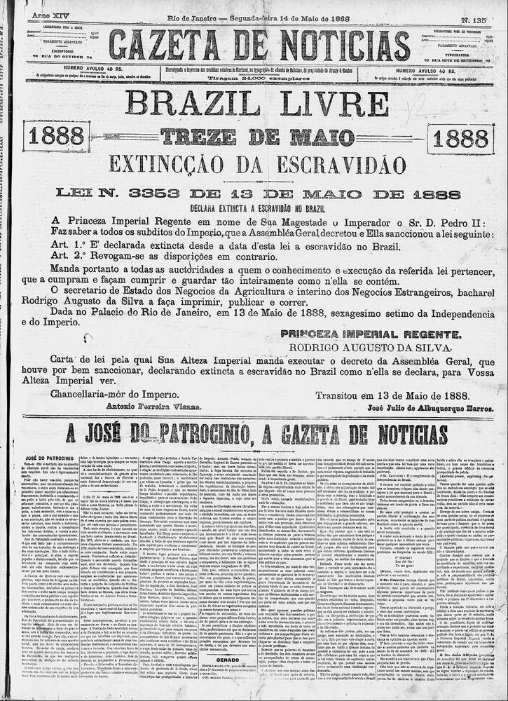 Edição de 14 de maio de 1888A Gazeta de Notícias \/ Acervo Fundação Biblioteca Nacional - Brasil