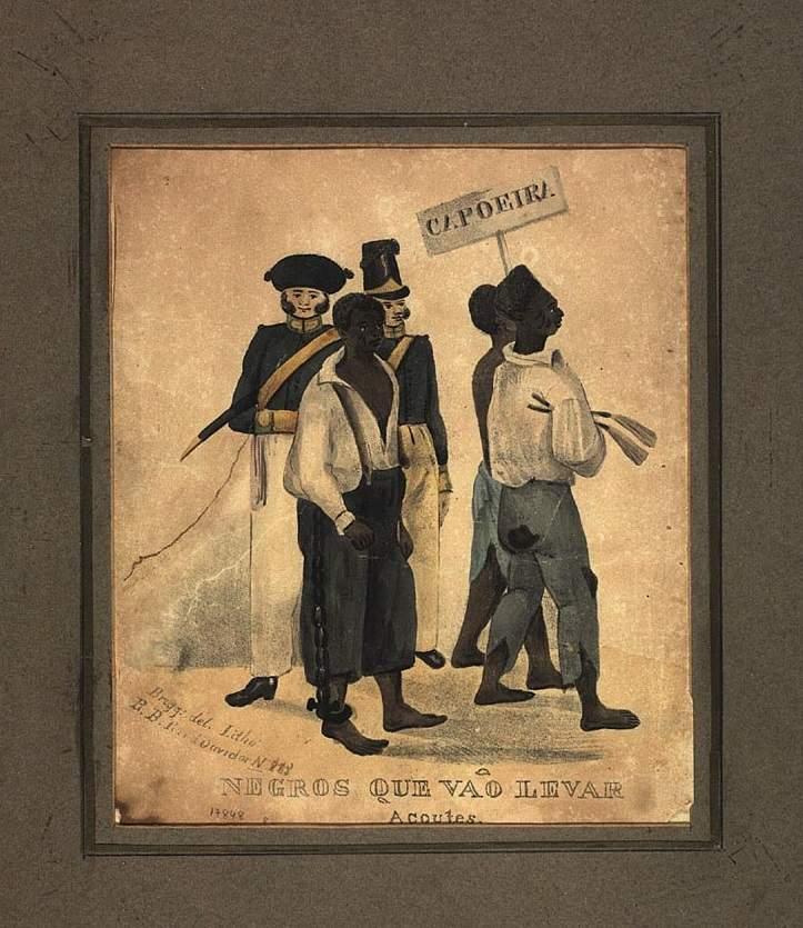 Negros que vão levar açoite, data entre 1832-36Frederico Guilherme Briggs \/ Acervo Fundação Biblioteca Nacional - Brasil
