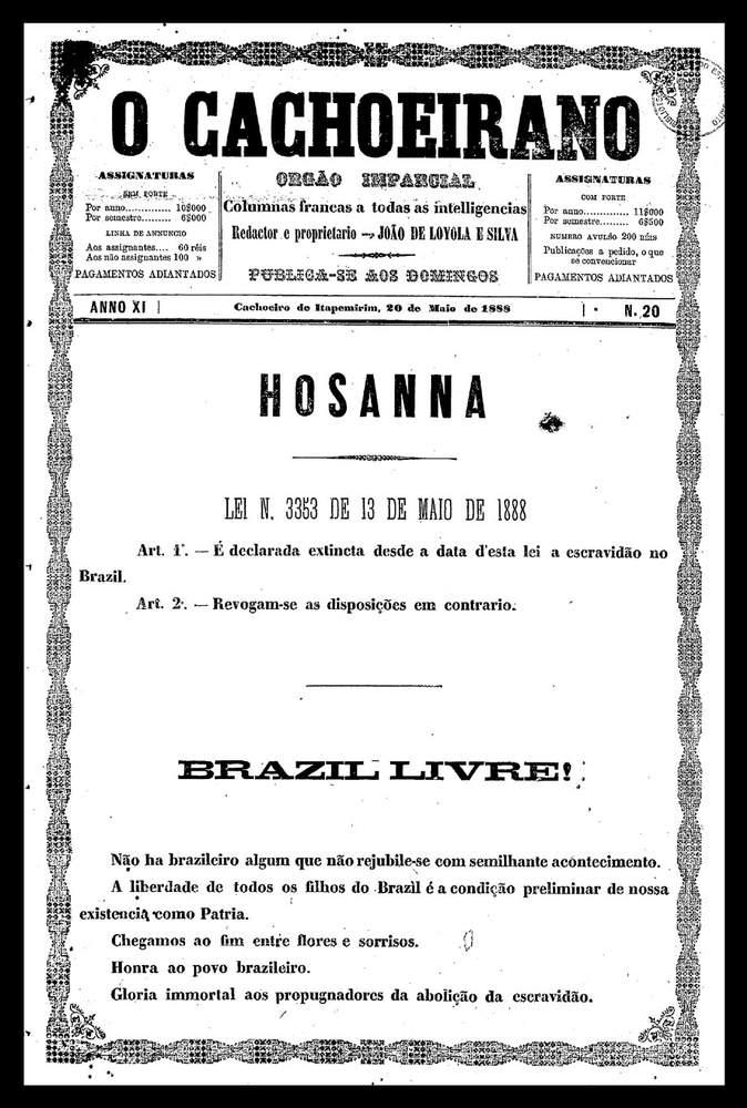 Edição de 14 de maio de 1888 \/ O CachoeiranoAcervo Fundação Biblioteca Nacional - Brasil