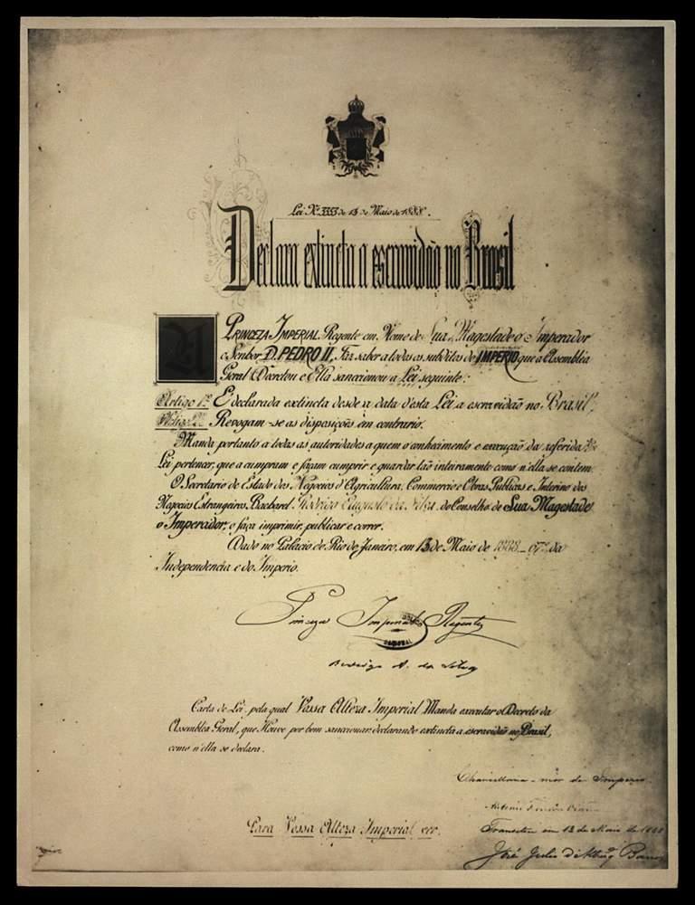 Lei n°3.353, a Lei Áurea, de 13 de maio de 1888Acervo Fundação Biblioteca Nacional - Brasil