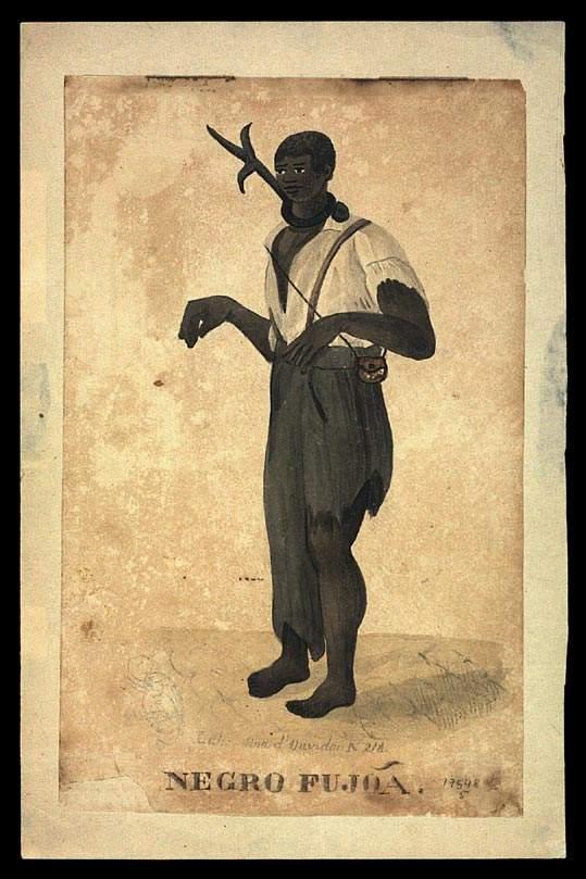 Negro fujão, data entre 1832-36Frederico Guilherme Briggs \/ Acervo Fundação Biblioteca Nacional - Brasil