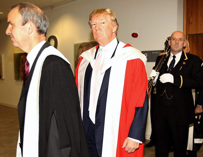 Donald Trump receiving an honorary degree from Robert Gordon University in 2010 (it was later revoked)
