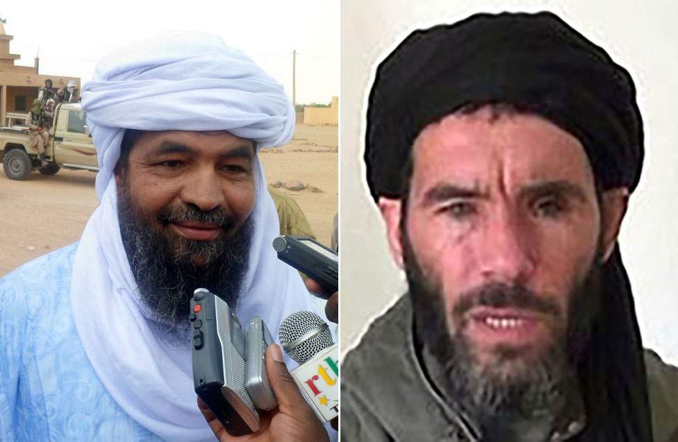 JNIM's leaders include the former Tuareg rebel, Iyad Ag Ghaly (left), and jihadist Mokhtar Belmokhtar (right)