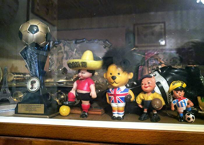 World Cup Willie (centre) - the mascot from the 1966 World Cup - is one of the many items adorning the flat Yashin shared with Valentina during his life