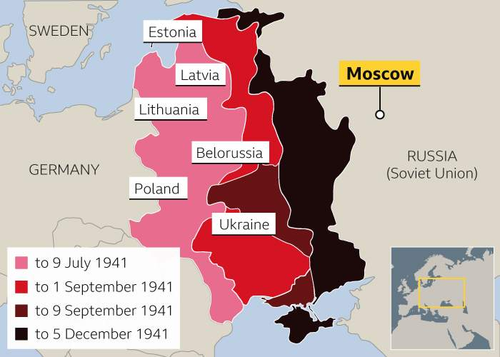 Between July and December 1941, the Nazis advanced into Russia, coming within just 70km of Moscow