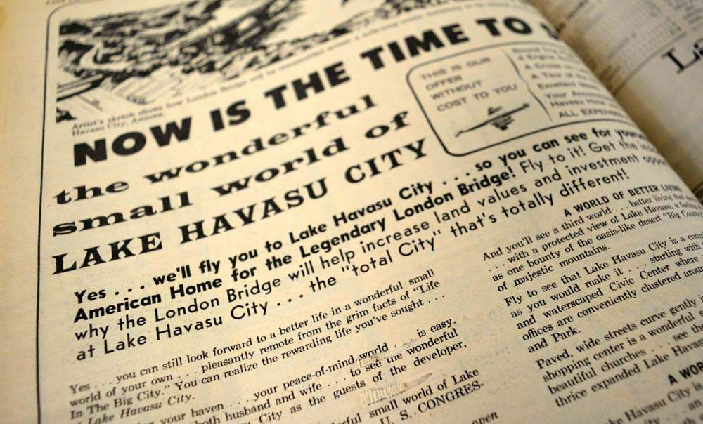 Adverts appeared in newspapers offering free trips to Lake Havasu City