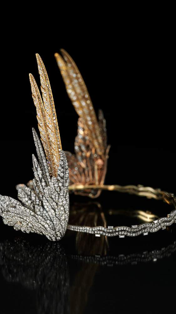 A diamond-winged Cartier tiara will be one of the items on display