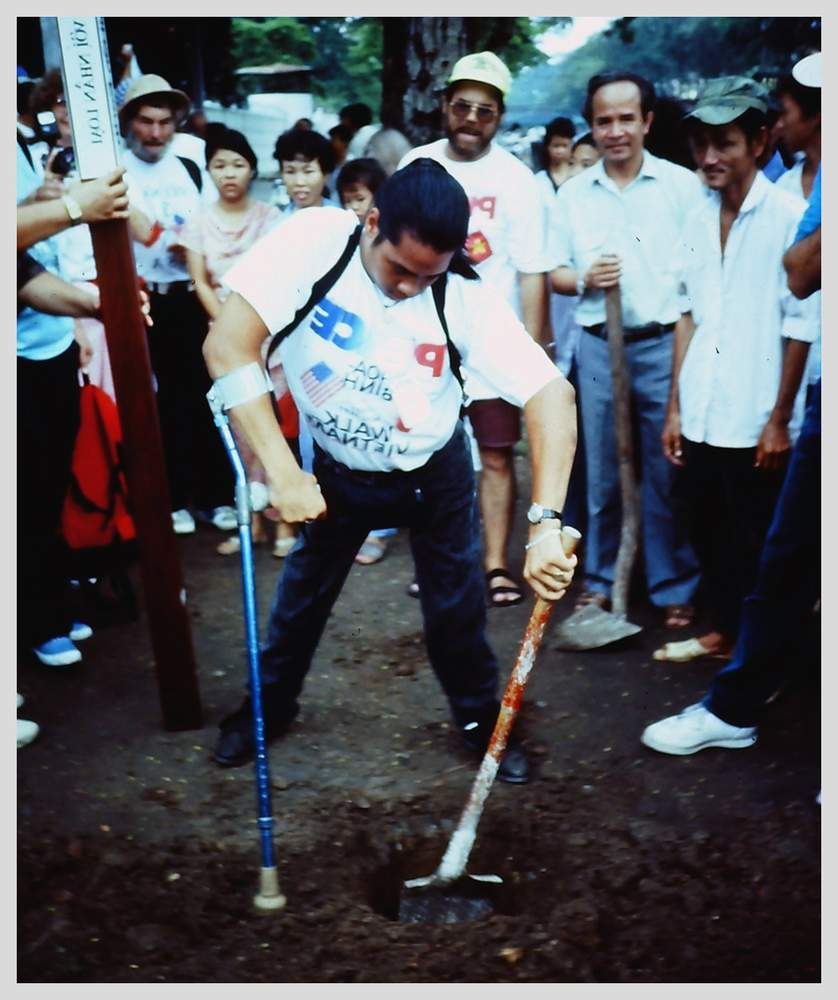 Planting a peace pole in Ho Chi Minh City