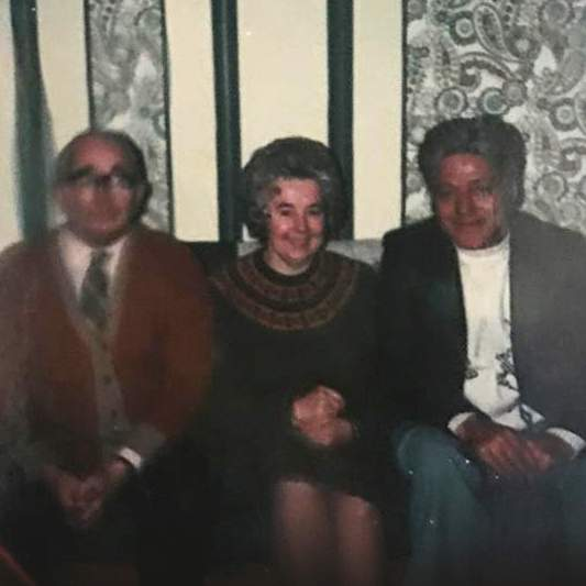 Donald Montgomery (right) with the Rev William Barrie and Mary Barrie