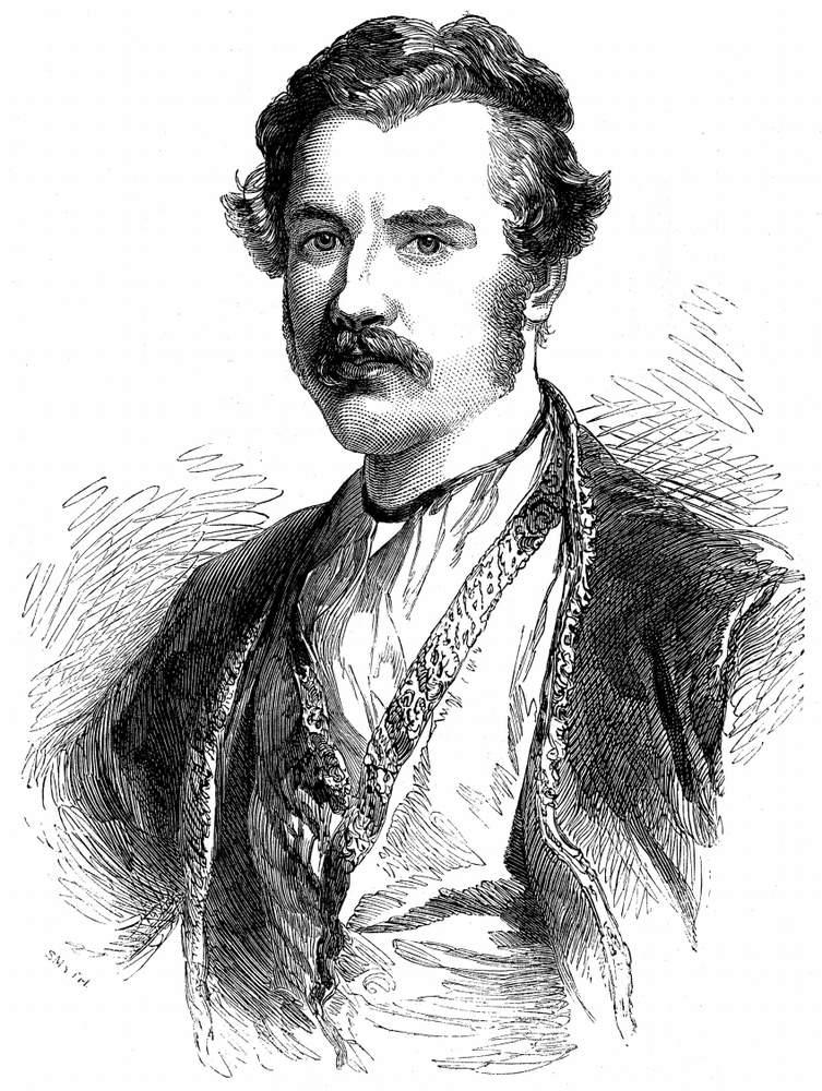 Wood engraving of Austen Henry Layard (1851)
