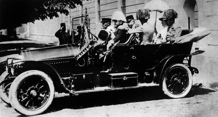 1914: The archduke and duchess, moments before their assassination in Sarajevo
