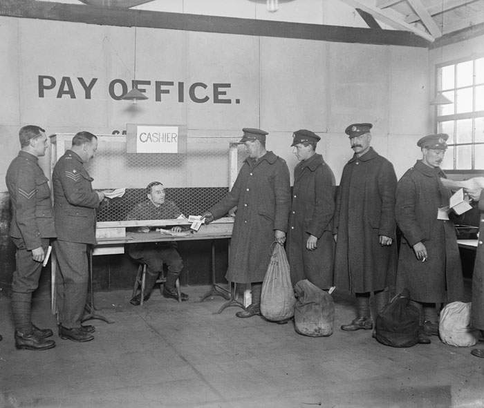 December 1918: Soldiers receiving their last pay packet before demobilisation