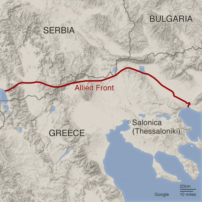 The Allied front line in the WW1 Balkan campaign
