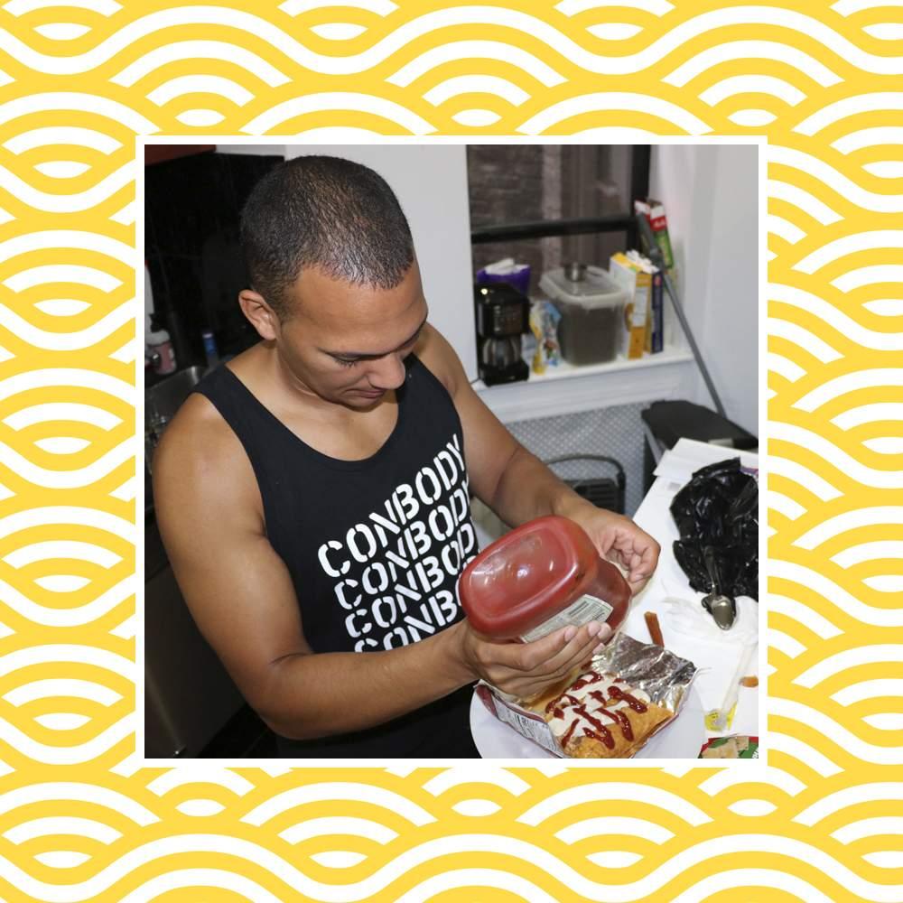 Coss Marte preparing a 'prison burrito'